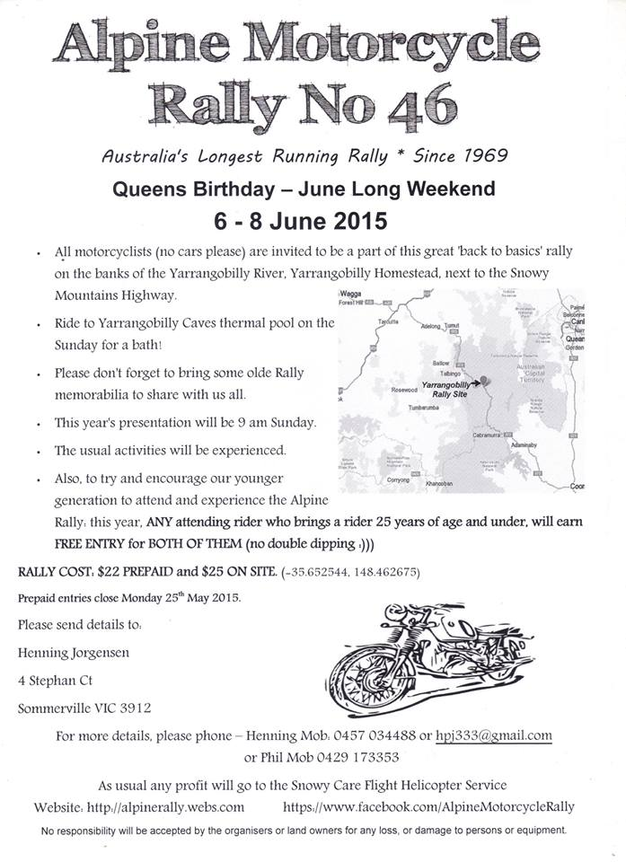 2015 Motorcycle Alpine Rally