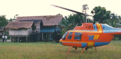Stilt house meets helicopter